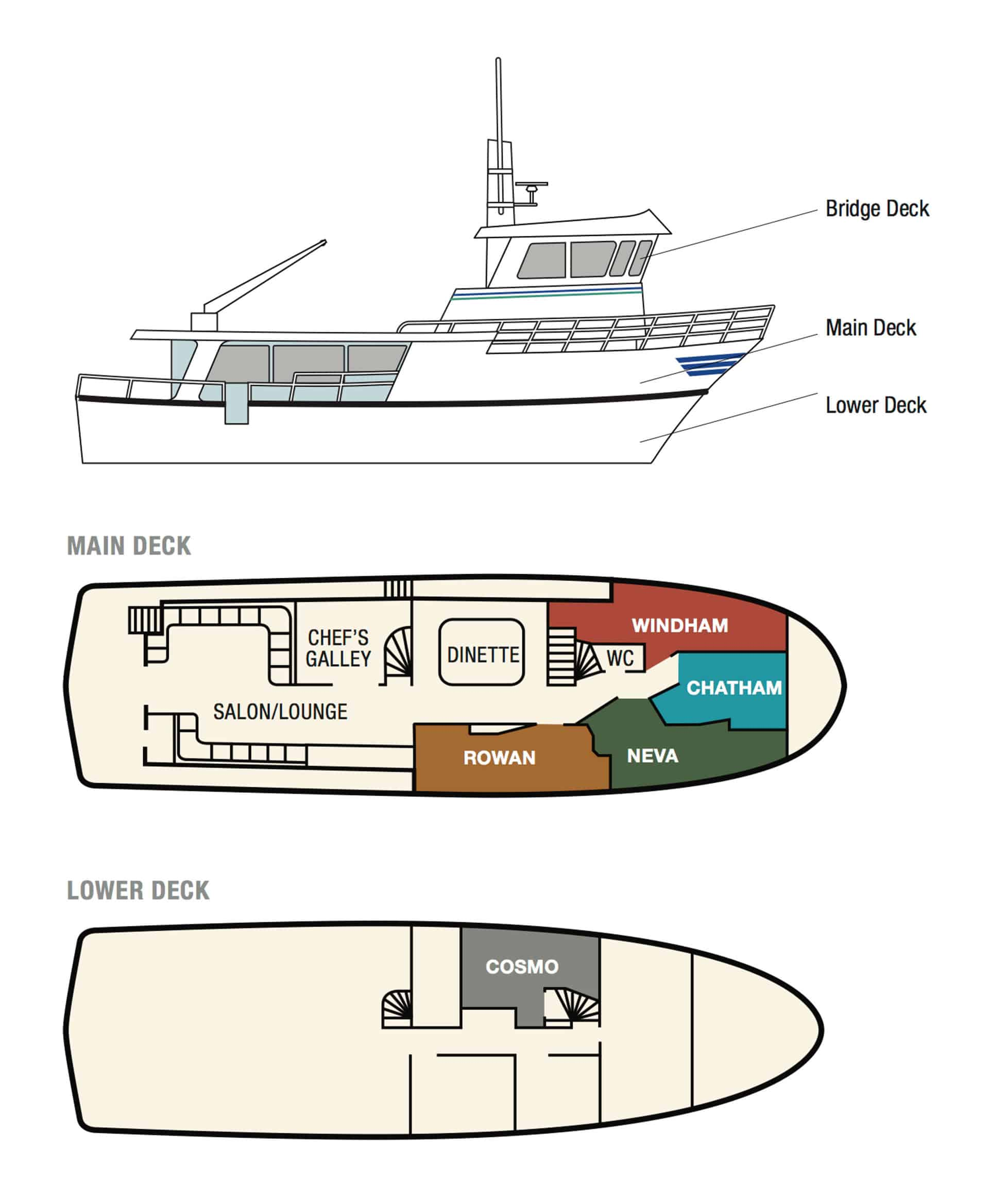 Misty Fjord small ship floor and cabin configuration deck plans.