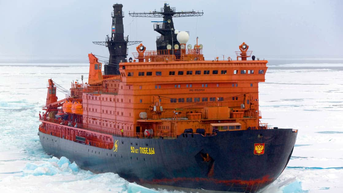 50 Years of Victory: Poseidon ship sailing through the ice shelf in the Arctic.