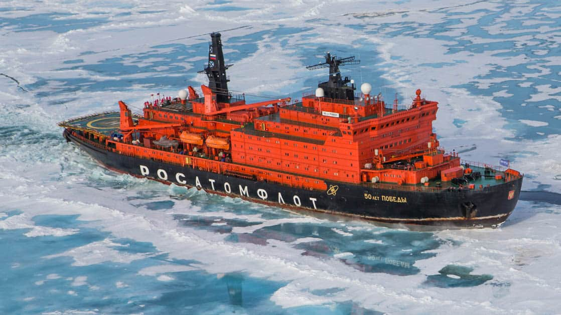 50 Years of Victory: Poseidon ship exterior sailing through ice in the Arctic.