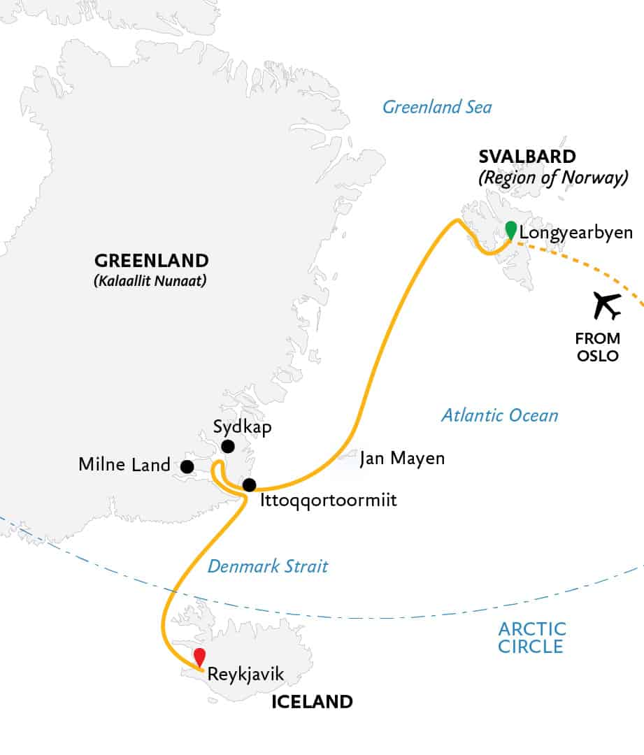 Route map for Four Arctic Islands Arctic cruise from Longyearbyen, Svalbard to Reykjavik, Iceland