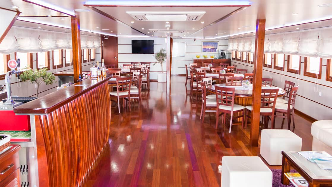 Small ship cruise Futura bar and dining room with tables, chairs and couch.