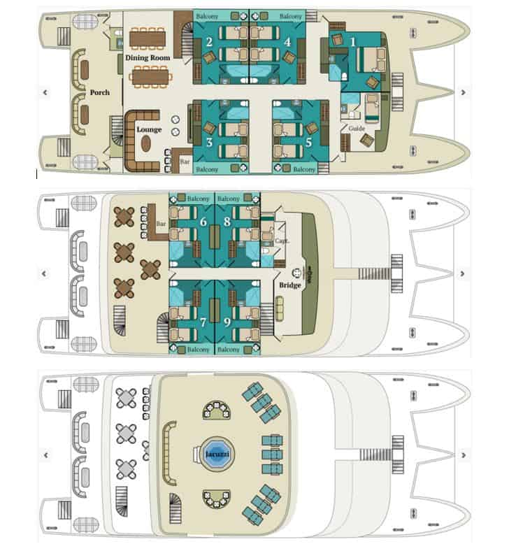 Deck plan of the Alya showing three different decks.