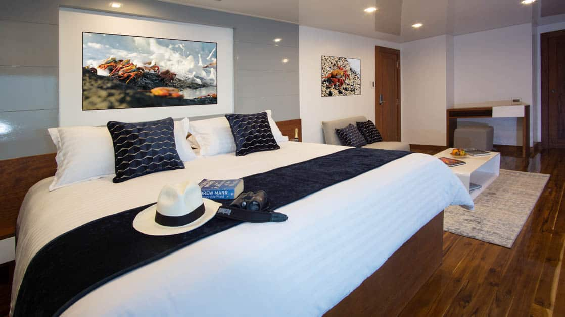 Galapagos Infinity yacht suite with king size bed, seating area, desk, nightstands.