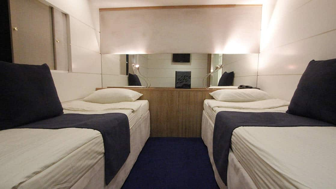 Harmony G Category P stateroom with 2 twin beds with dresser, nightlights and window.