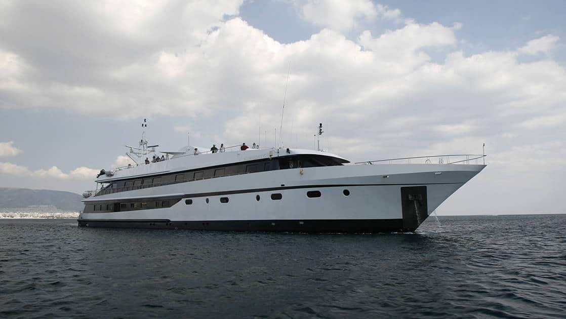 Harmony G yacht exterior anchored in the Mediterranean.