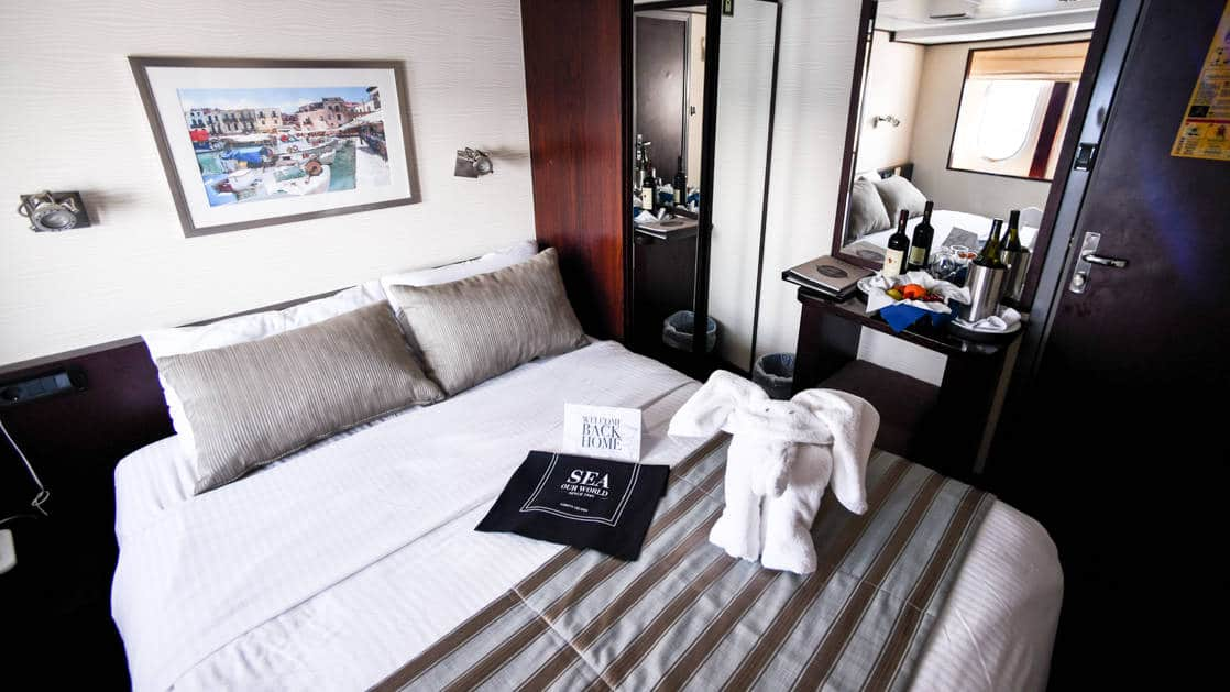 Harmony V yacht Category B stateroom with double bed, 2 windows, desk and reading lights.