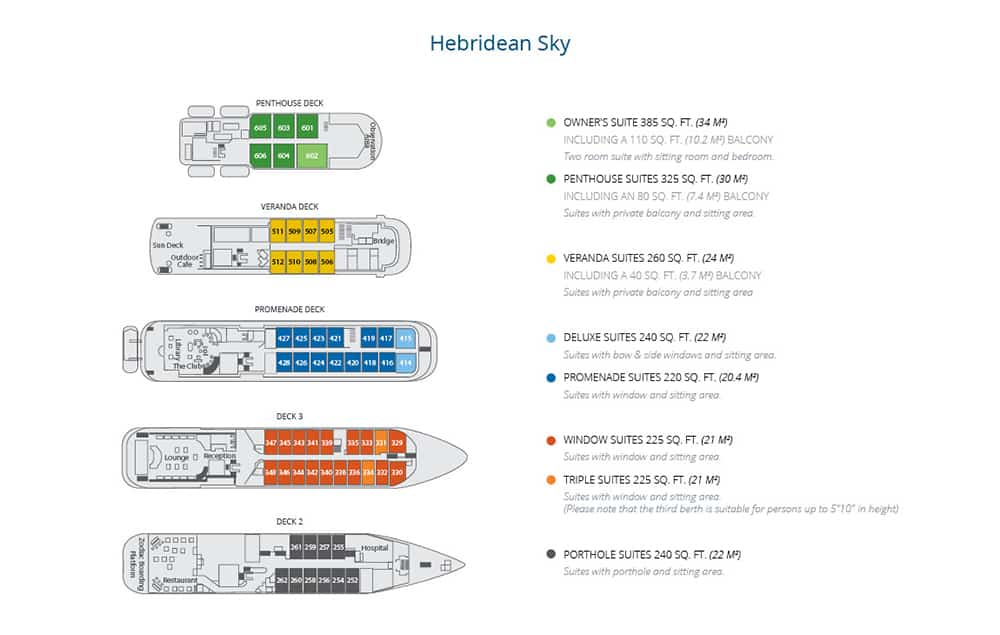 Deck plan of Hebridean Sky Antarctica expedition ship, showing cabins for 114 guests across 5 passenger decks.