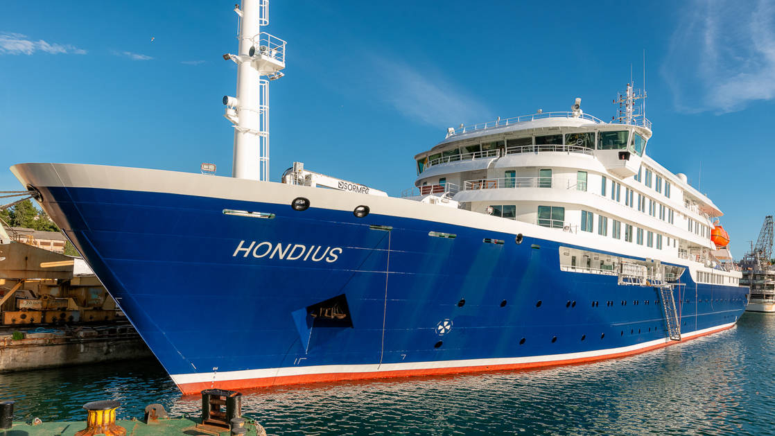 Hondius Expedition ship exterior at port.
