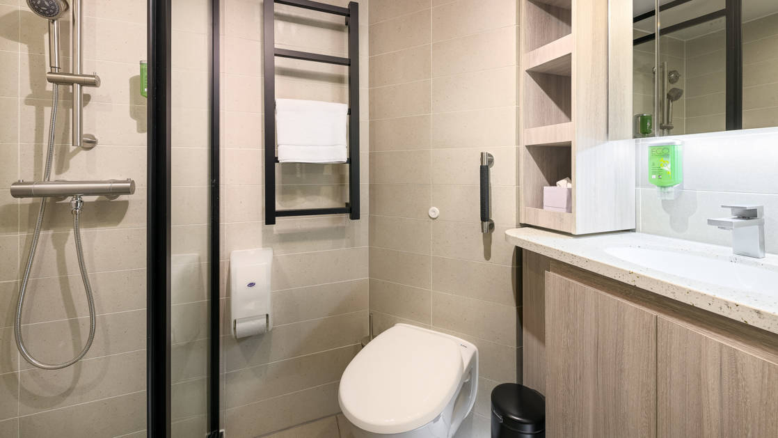 Hondius and Janssonius Junior Suite bathroom with shower, vanity, toilet and storage.
