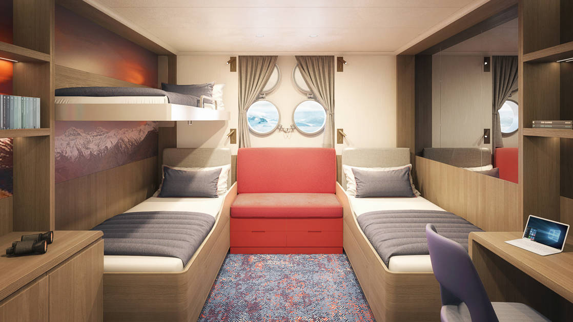 Hondius and Janssonius Triple Porthole stateroom with 3 berths, seating, desk and 2 small portholes.
