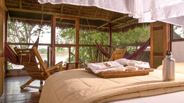 The Superior Rio room at Inkaterra Reserva Amazonica has an expansive view of the Madre de Dios River from the 408-square-foot cabañas, in Peru's Amazon rainforest.