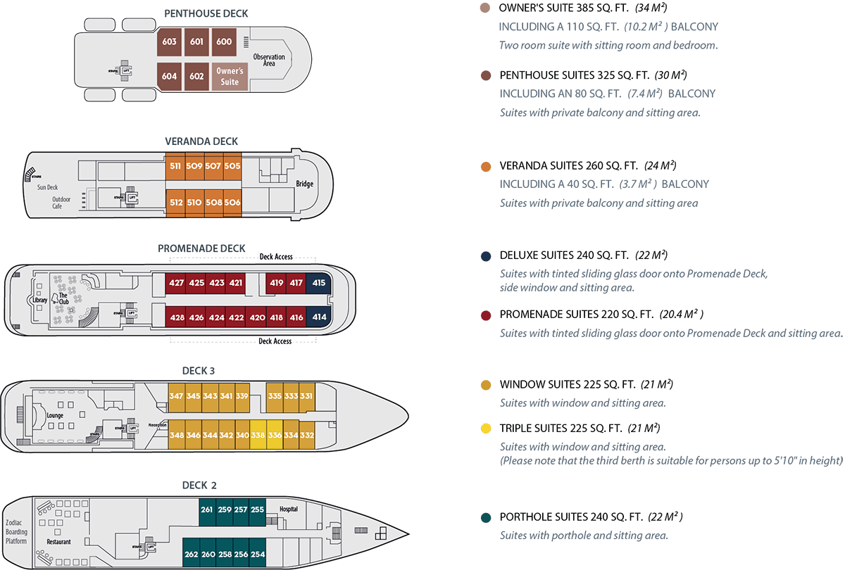 Deck plan of Antarctica small ship Island Sky with 5 decks & 8 cabin categories.
