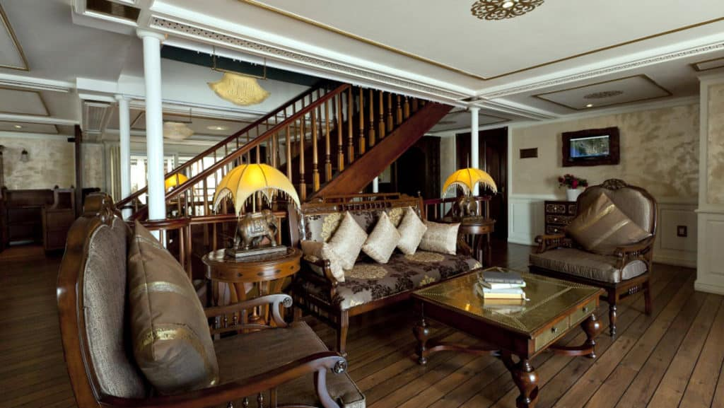 At the stern of the upper deck is the enclosed, air-conditioned lobby lounge.
