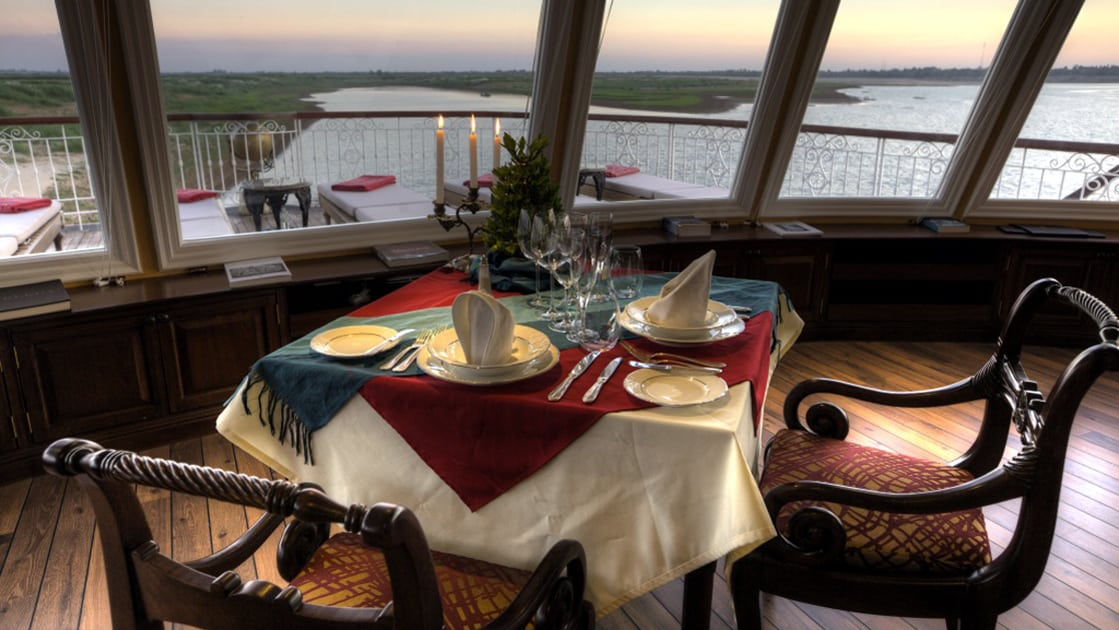 Dining at sunset aboard Jahan can be an intimate affair.