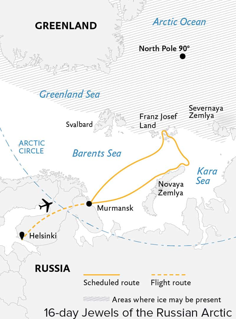 Jewels of the Russian Arctic: Franz Josef Land & Novaya Zemlya route map from Murmansk, Russia.