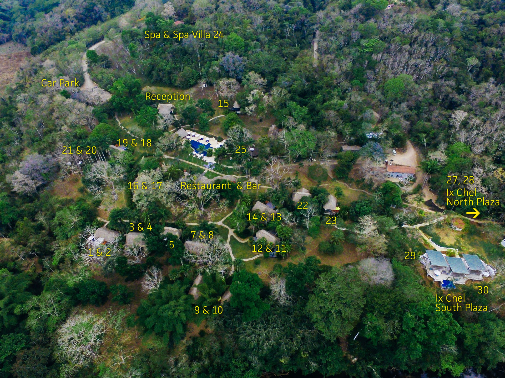 Aerial photograph of The Lodge at Chaa Creek in Belize, with 16 cottage rooms, 3 suites & 5 villas.
