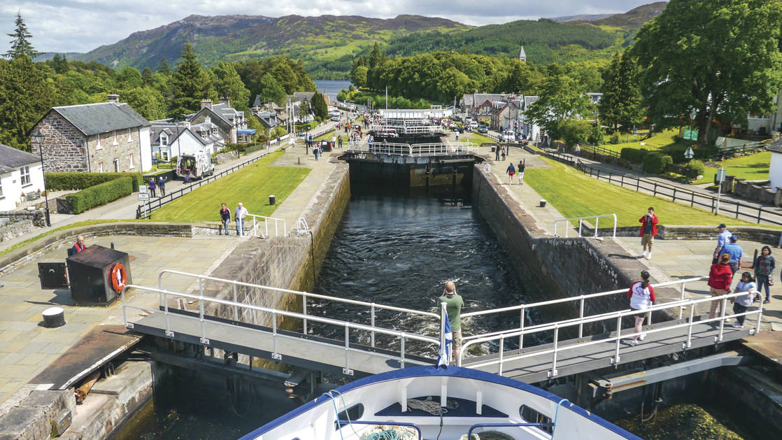 Lord of the Glens bow going through the Fort Augustus locks in Scotland.