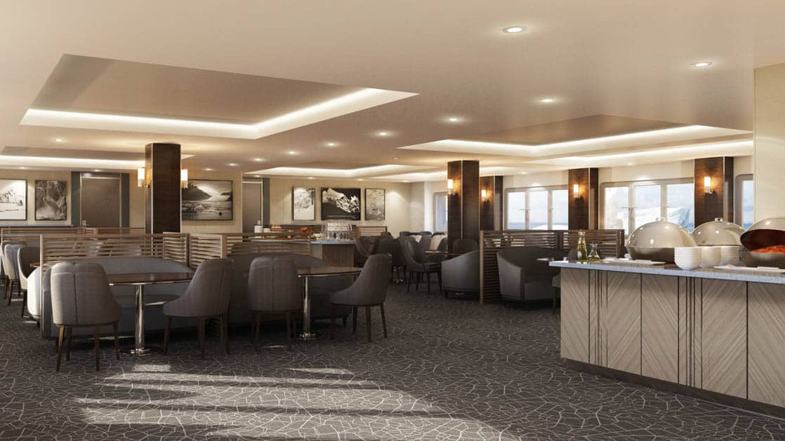 Rendering of dining room with buffet bar, tables and chairs aboard Magellan Explorer Antarctica expedition ship
