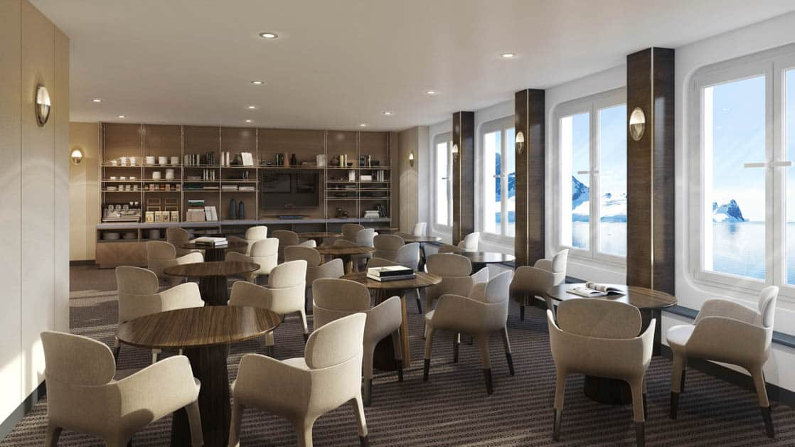 Rendering of Library with tables, chairs, view windows, bookshelves and TV aboard Magellan Explorer Antarctica expedition ship