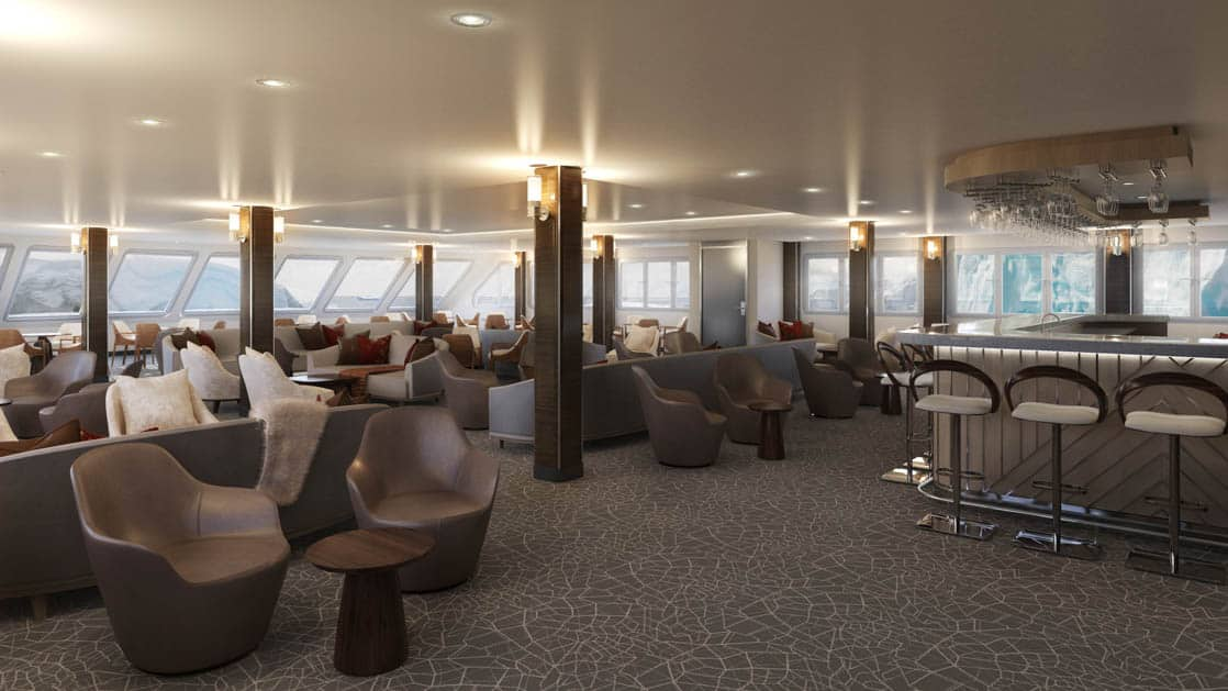 Rendering of lounge with bar, tables and chairs aboard Magellan Explorer Antarctica expedition ship