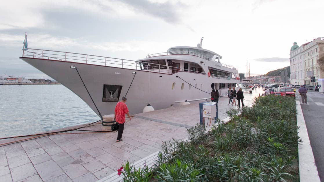 Maritimo bow view docked at port in Croatia.