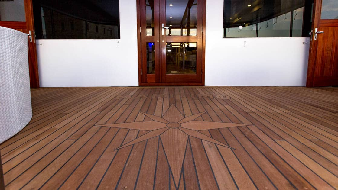 Maritimo wood deck with inlay.