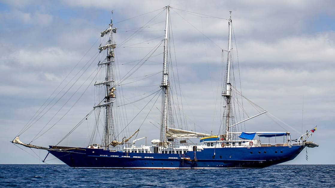 Sailing yacht the Mary Anne anchored in the Galapagos.