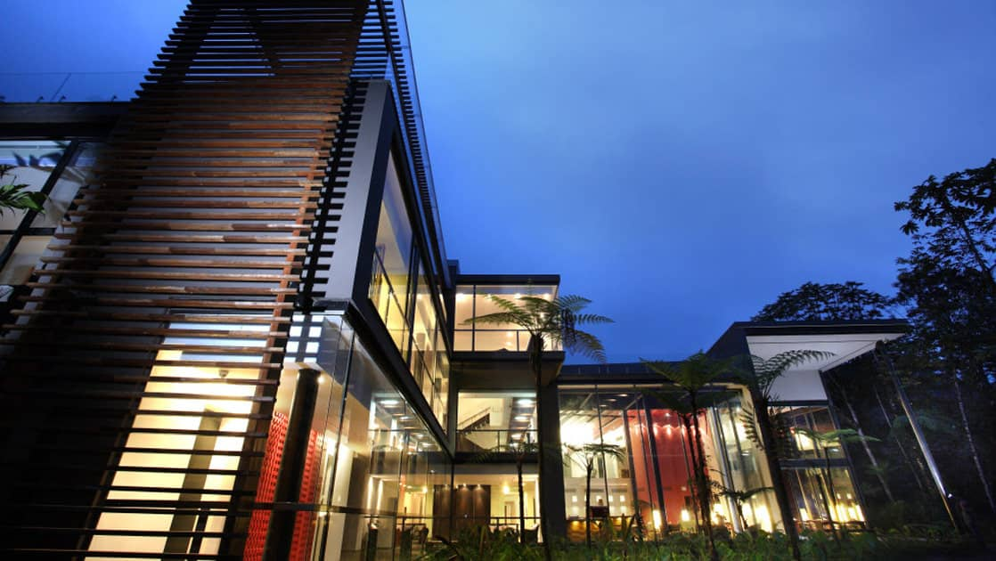 The exterior of the Mashpi eco Lodge, a luxurious, family-friendly accommodation in Ecuador