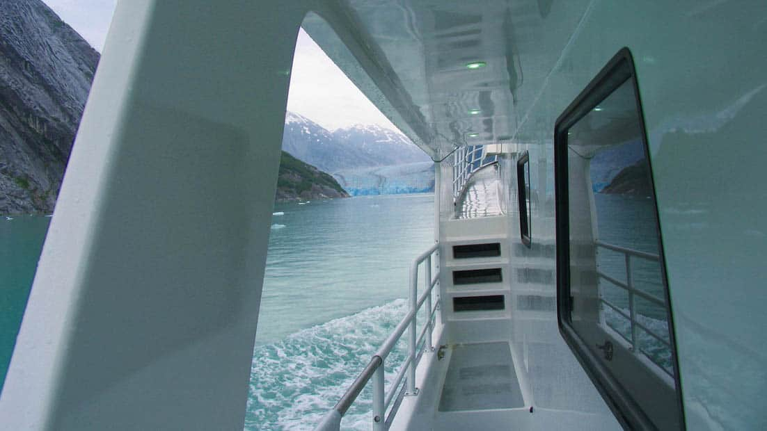 Misty Fjord aisle with steps going up to the bow of the ship as it sails into Tracy Arm glacier in Alaska.