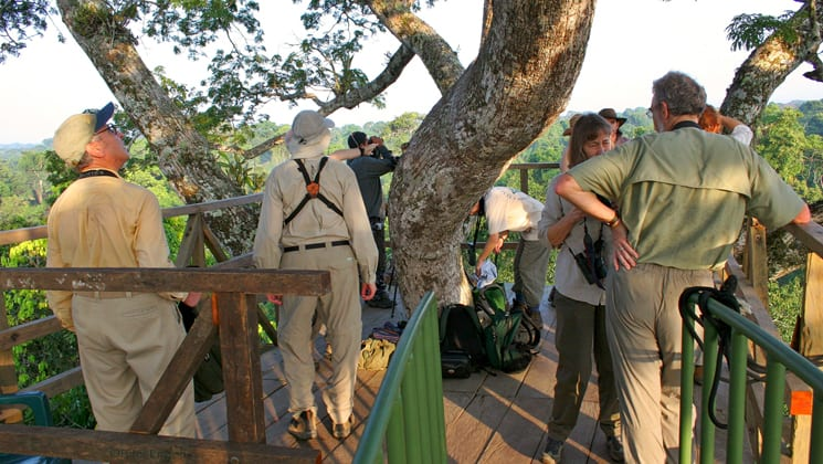 Travelers stand on a platform to look at the jungle canopy near the Napo Wildlife Center, a sustainable eco lodge surrounded by a 53,000 acre rainforest biosphere reserve within Yasuni National Park in the Amazon.