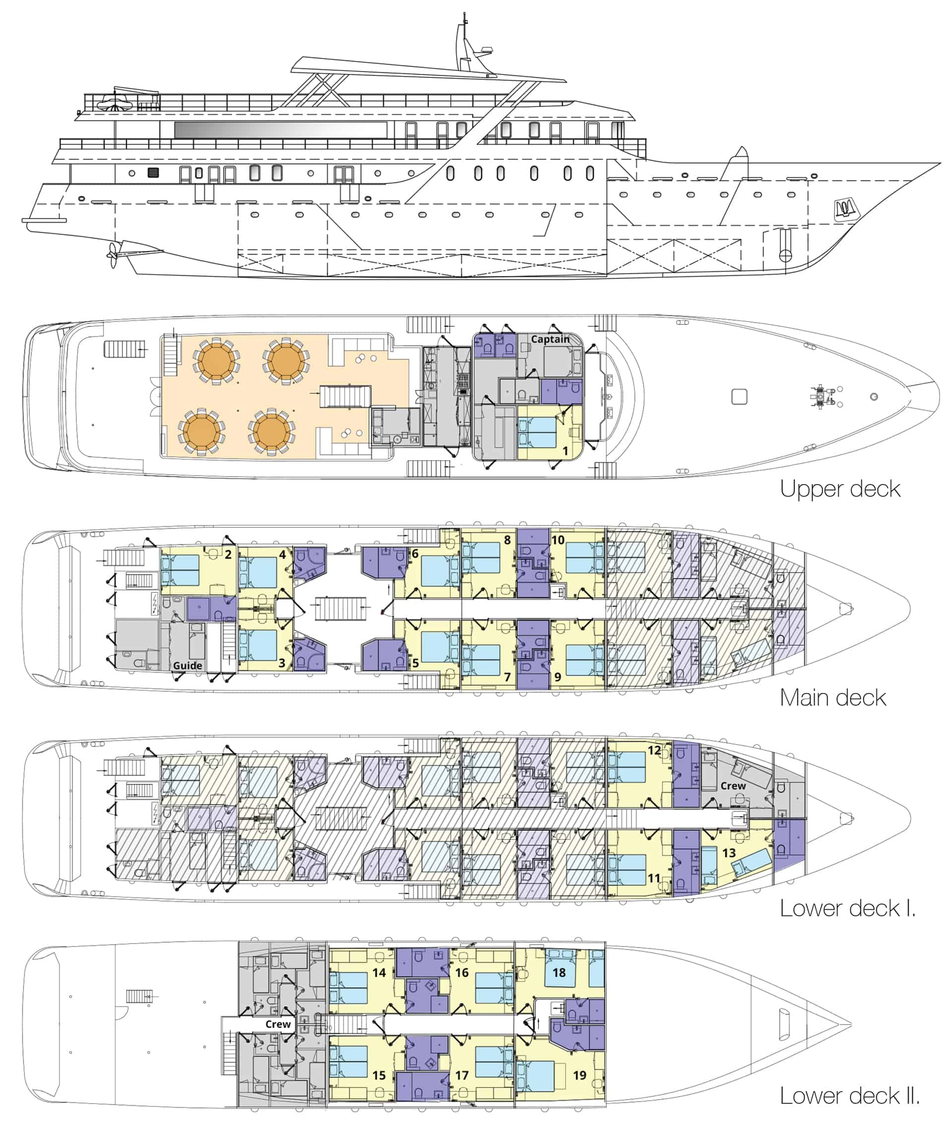 Deck plan of Nautilus deluxe Mediterranean yacht, showing four decks with guest cabins.