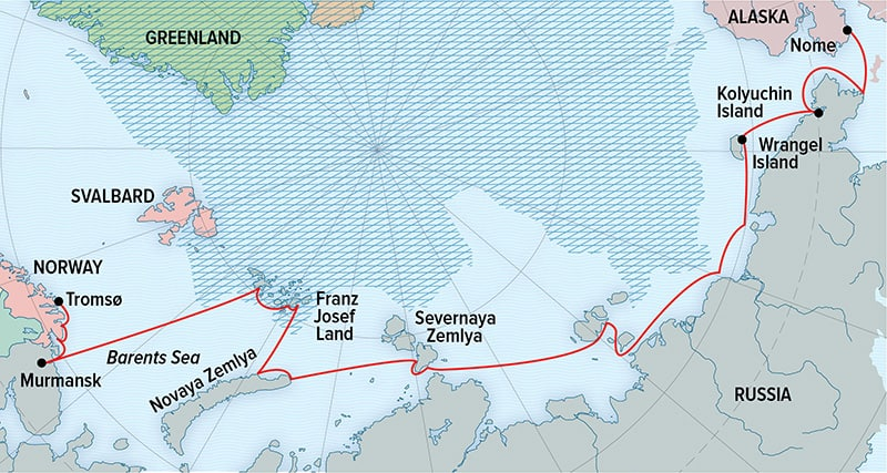 National Geographic Northeast Passage Expedition route map.