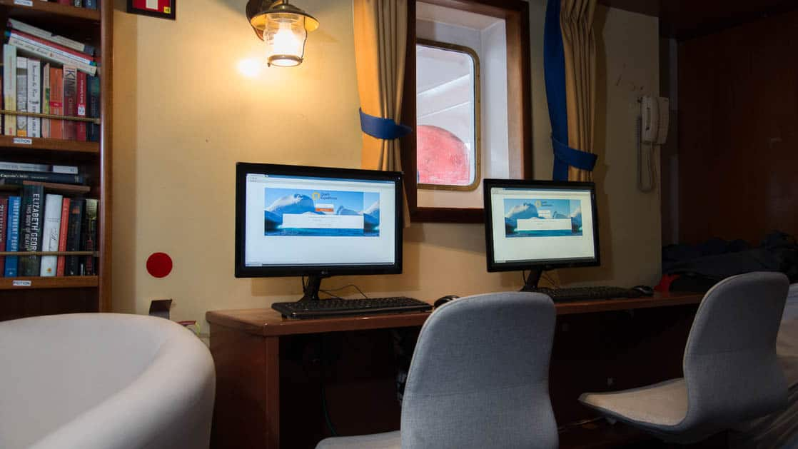 library with computers aboard the Ocean Adventurer small ship