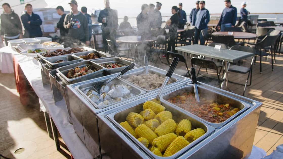 BBQ deck buffet with many food options aboard Ocean Adventurer