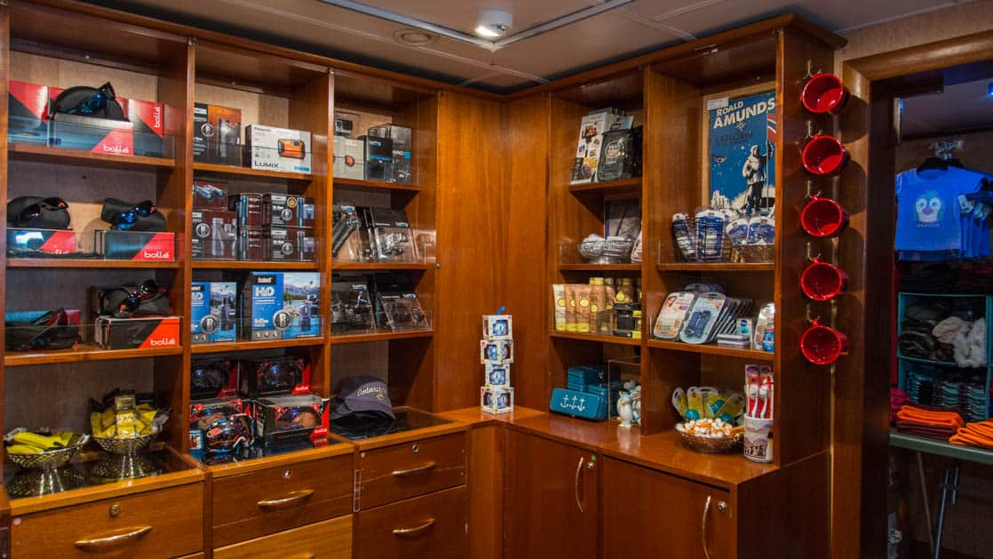 room with retain items for purchase aboard the Ocean Adventurer small ship