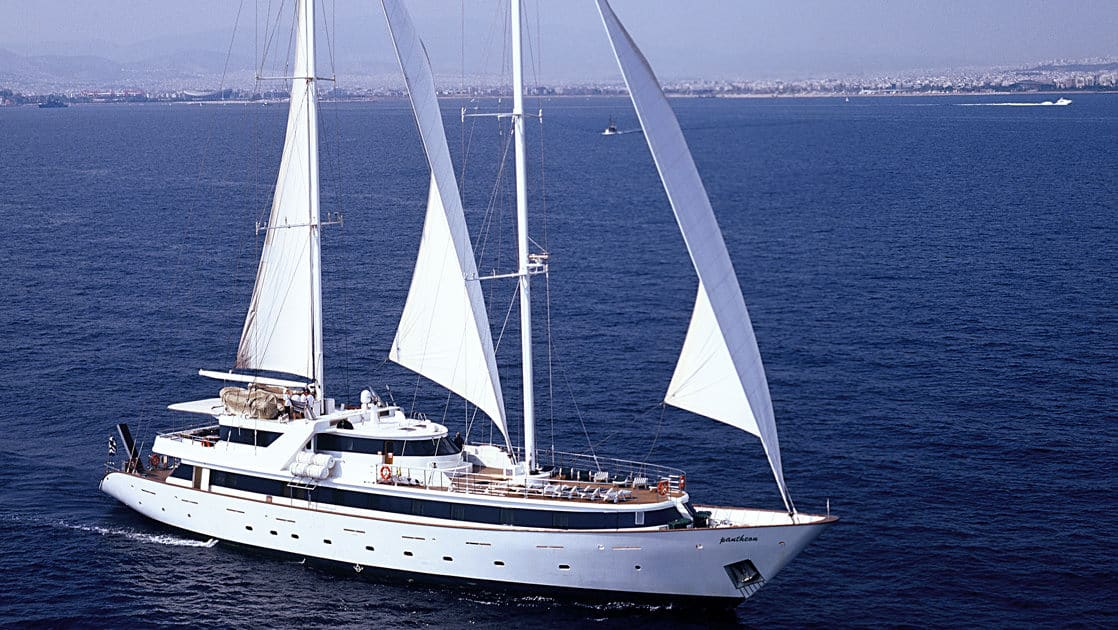 Panorama II luxury yacht cruising on the mediterranean on a sunny day