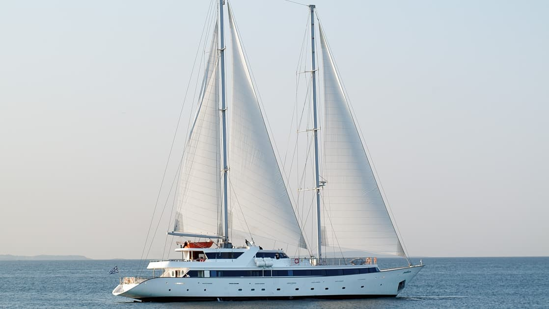 panorama ii luxury yacht sailing on a calm day on calm waters