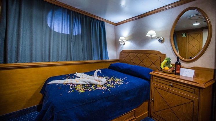 Bed with towel shaped like a swan and small porthole, mirror and curtains aboard Panorama II