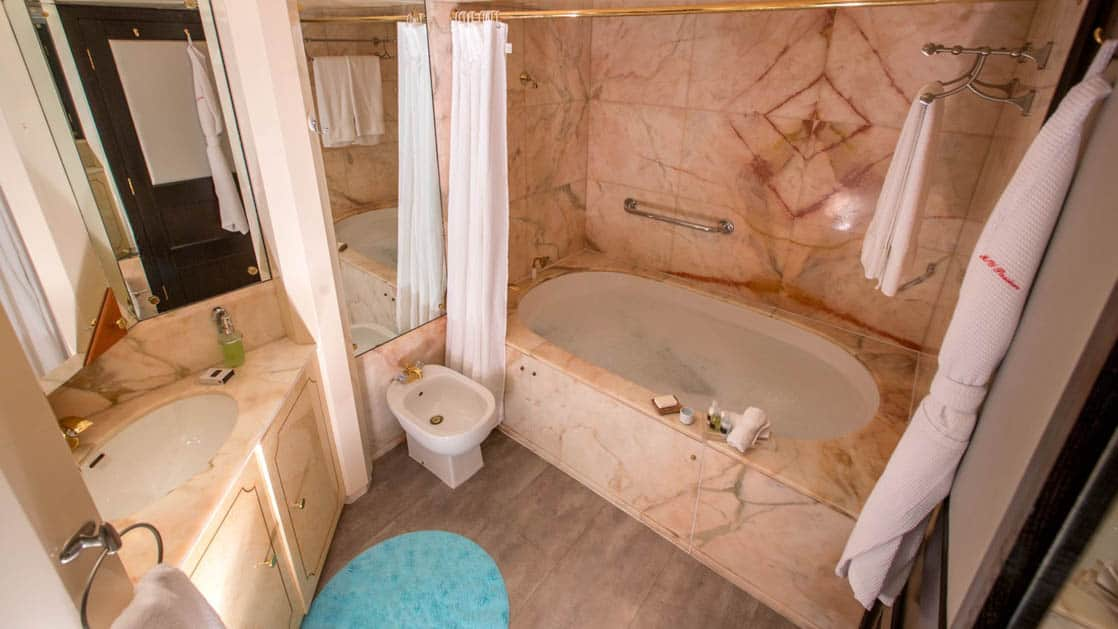 Marble bathroom and tub aboard WildAid's Passion