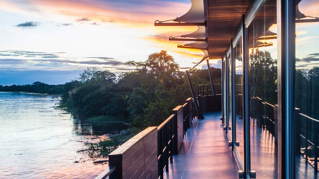 Observation deck on Aria during sunset in the Amazon.