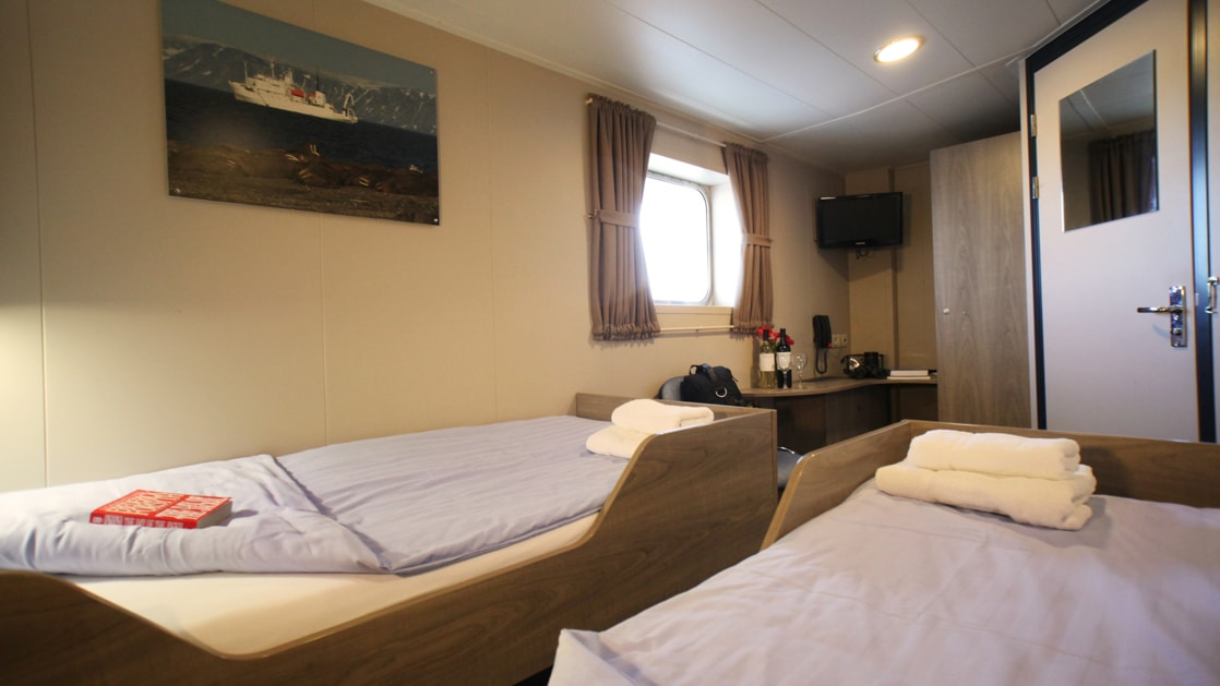 Cabin with 2 beds aboard Plancius Polar small ship