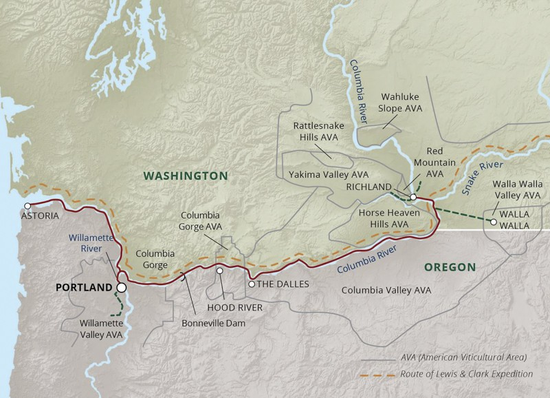 Rivers of Wine and Culinary river cruise route map.