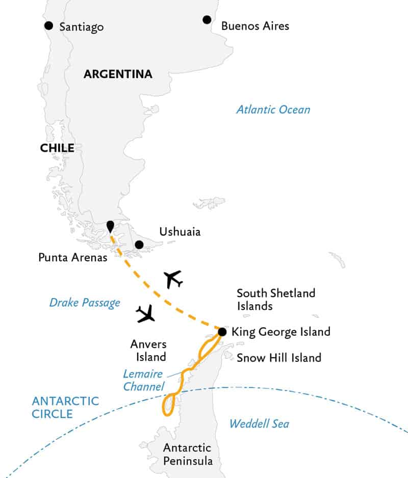 Route map of Crossing the Circle Antarctica small ship air cruise, operating round-trip from Punta Arenas, Chile with a charter flight to King George Island, cruise along the Peninsula & the opportunity to cross the Antarctic Circle.