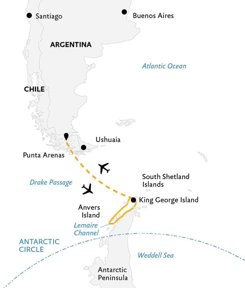 Route map of Antarctic Express: Fly the Drake Antarctica small ship air cruise, operating round-trip from Punta Arenas, Chile, with a charter flight to and from King George Island where guests embark and disembark the vessel to the Peninsula & South Shetland Islands.