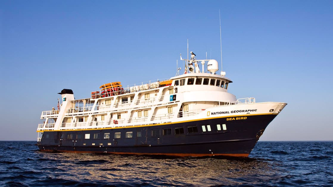 Full exterior of starboard side and bow of National Geographic Sea Bird expedition ship