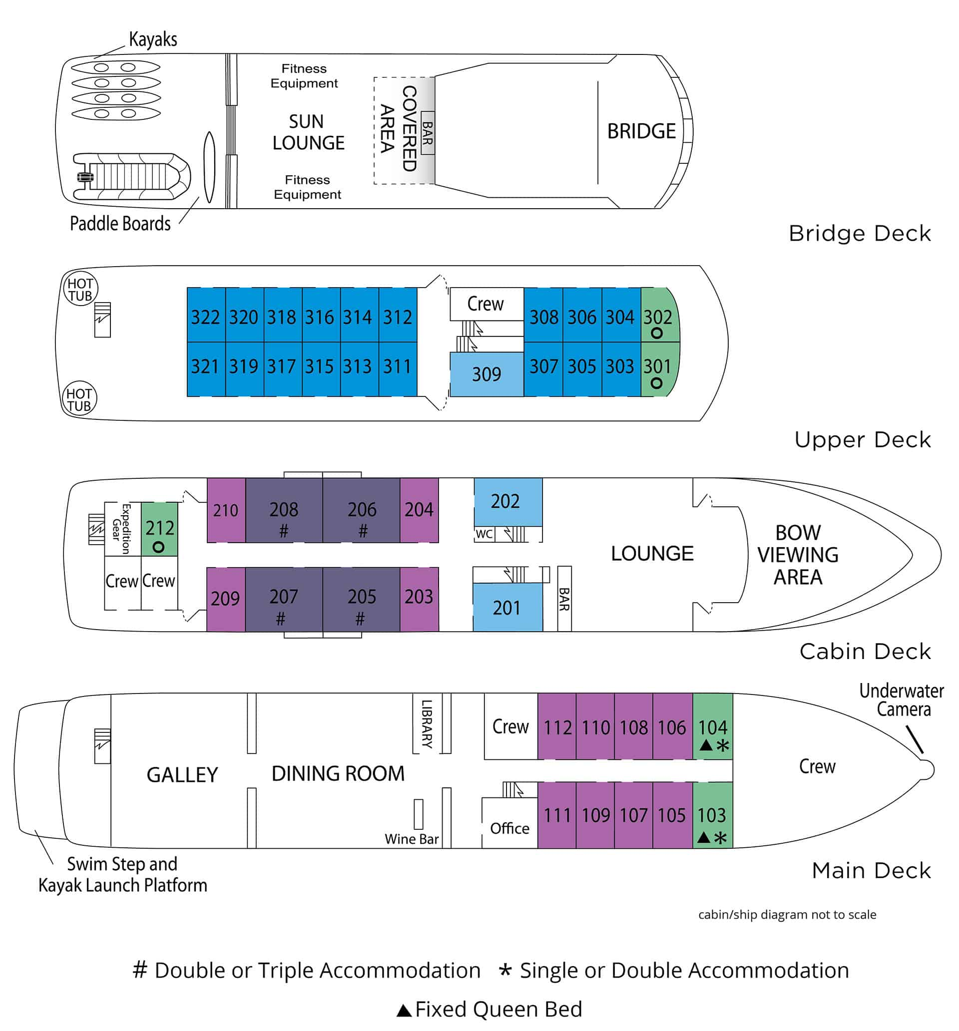 Safari endeavor small ship deck plan with four levels