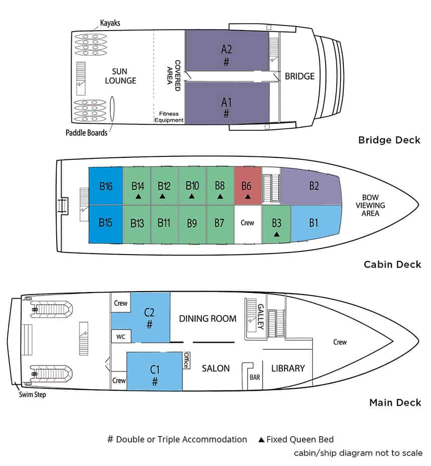 Safari Explorer small ship deck plan with 3 renderings and a list of ship cabin types.