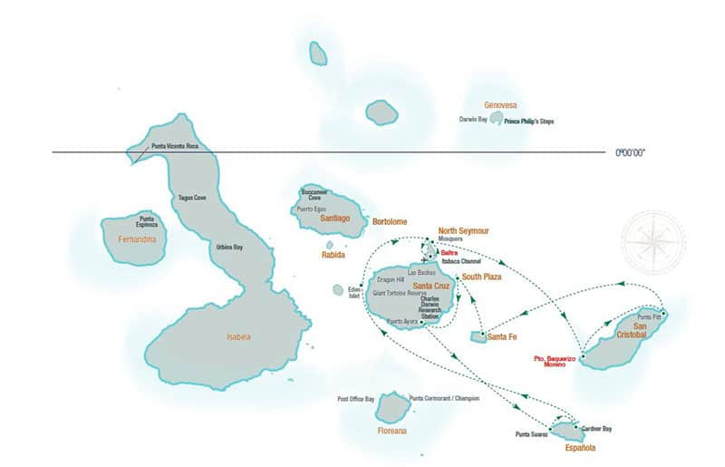Santa Cruz II small ship cruise 7-day eastern route map with visits to San Cristobal, Santa Fe, South Plaza, Santa Cruz, Espanola, North Seymour, Baltra, Mosquera and Eden Islets.