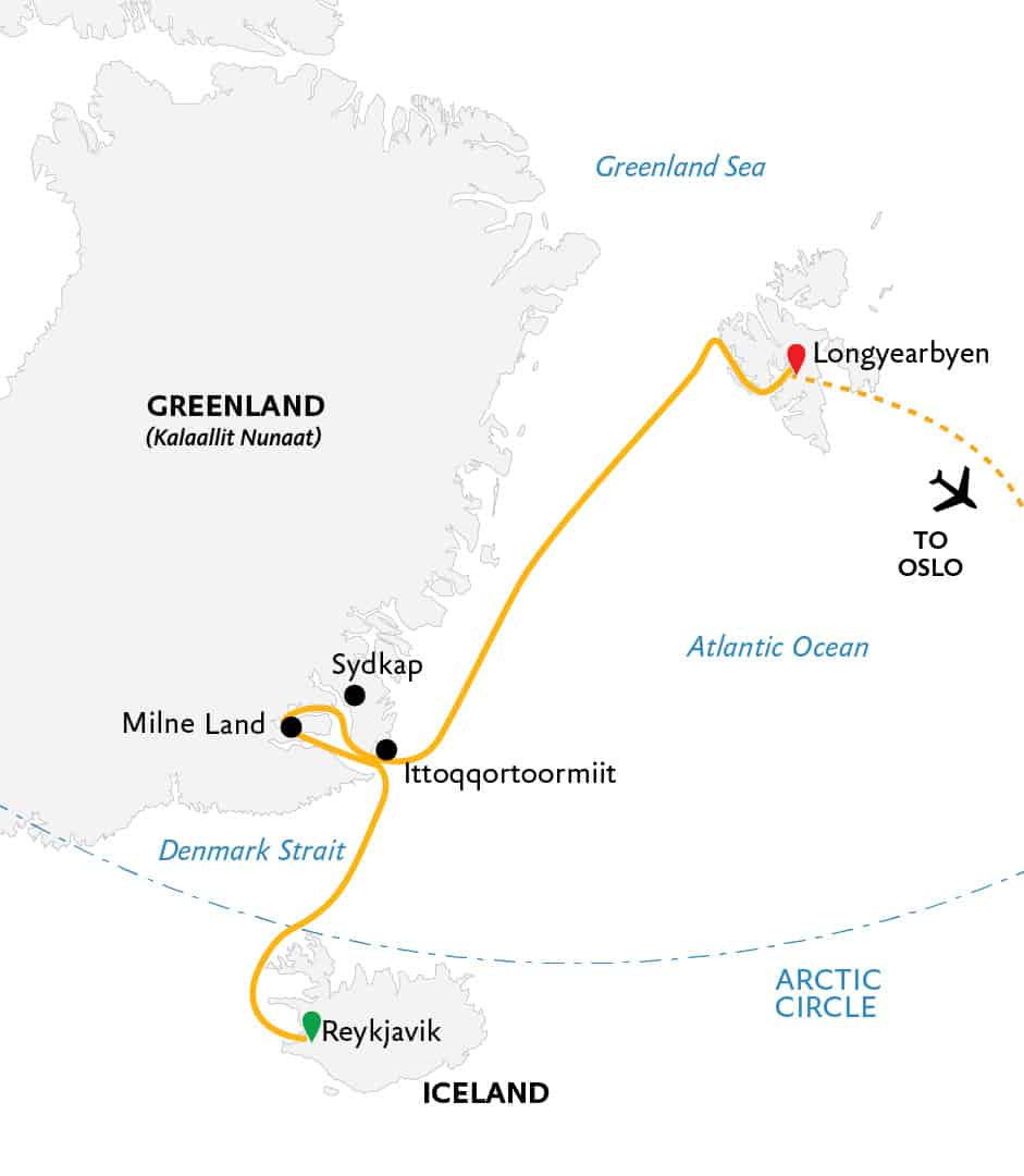Route map for Three Arctic Islands reverse itinerary northbound Arctic cruise from Reykjavik, Iceland to Longyearbyen, Svalbard