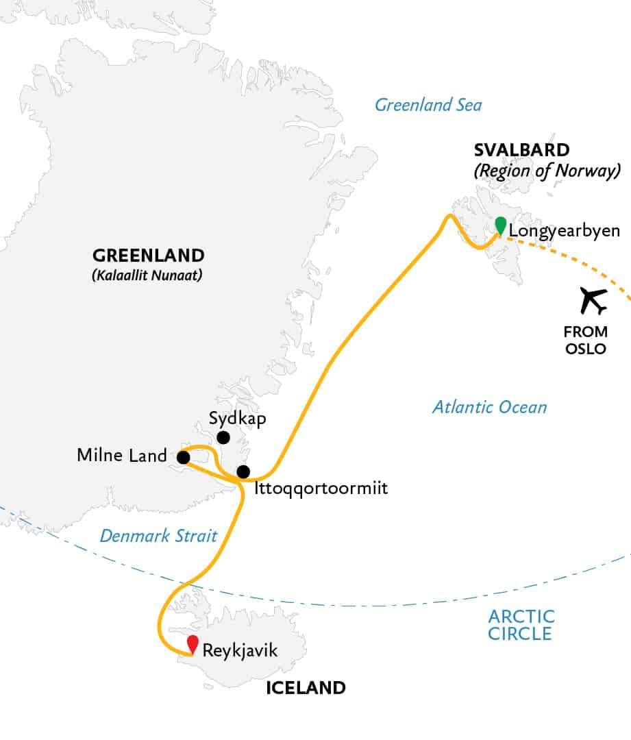 Route map for Three Arctic Islands main itinerary southbound Arctic cruise from Longyearbyen, Svalbard to Reykjavik, Iceland